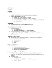 HLTH 3300 Disease Screening Notes