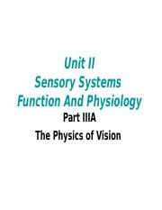 UnitII Sensory Systems Function And Physiology  Part III A The Eye and Vision The Physics of Vision.