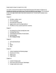 Study Guide for Exam 2 on April 6&11
