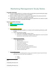 Marketing Management Study Notes COMPETITVE ADVANTAGE.docx