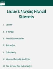Lecture 3 - Analyzing Financial Statements