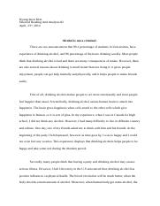 essay for selected reading(drinking alcohol)