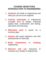 Course Objectives Introduction to Engineering