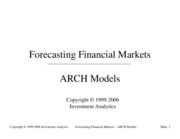 Forecasting 2001 - ARCH models