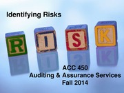 ACC 450 13 Identifying Risks Fall 14