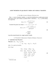 SOME THEOREMS ON QUADRATIC FORMS AND NORMAL VARIABLES