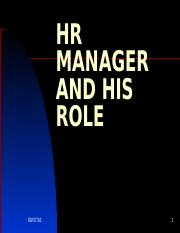 HR MANAGER AND HIS ROLE - ASBM
