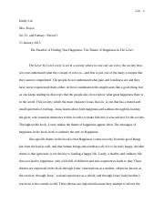 The Giver Essay January 2015