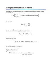 Complex numbers as Matrices
