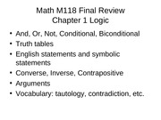 All Concepts and Definitions M118 Outline