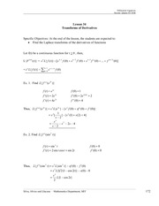 Transforms of Derivatives