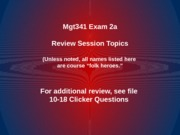 MGT 341 Exam 2a Review