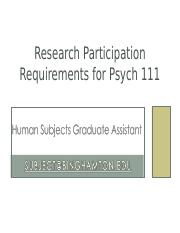 Research Participation Requirements PSYC 111_FALL 2016