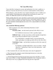 cause effect the cause effect essay cause and effect writing this is the end of the preview sign up to access the rest of the document unformatted text preview the cause effect essay
