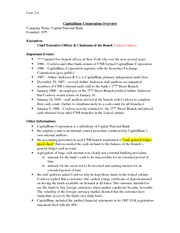 CapitalBanc Corporation Overview Audit Case Assignment