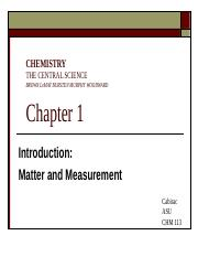 Chapter 1 Matter and Measurement BbVF F15
