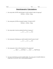 Worksheet - Stoichiometric Calcs