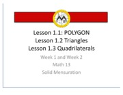 Solid Mensuration Coursewares