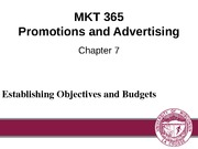 Chapter 7: Establishing Objectives and Budgets