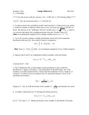 Stat 130A -- Sample Midterm II -- Fall 2014