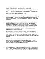 Sample problem for Midterm 1
