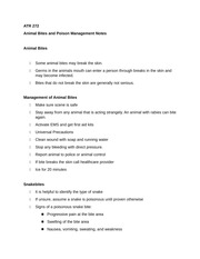 ATR 272 Animal Bites and Poison Management Notes