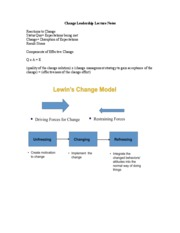 Change Leadership Lecture Notes