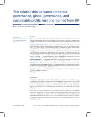 The relationship between corporate governance global governance and sustainable profits - lessons le