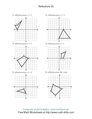 Worksheets Reflection Worksheet math 8 reflection worksheet 3 solutions y 1 x v p f d 4