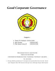 Good Corporate Governance - tugas internal audit