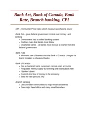 Bank Act, Bank of Canada, Bank Rate, Branch banking, CPI