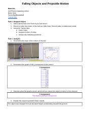 Jonathan Gutierrez - Falling Objects and Projectile Motion Activity