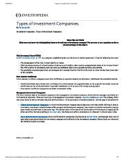 Types of Investment Companies