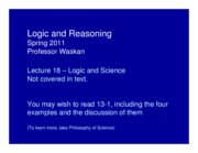 Phil 103 SP 11 Lecture 14 Logic and Science