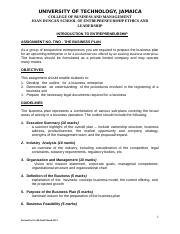 Business Plan Assignment  Revised June 2013