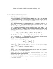 Spring 2001 final exam solutions