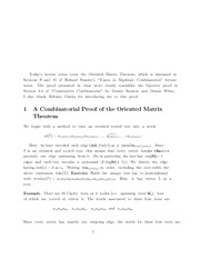 A Combinatorial Proof of the Oriented Matrix Theorem