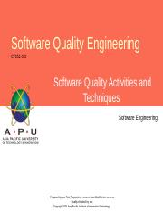 APU Lecture 5 - Software Quality Activities and Techniques Part 1