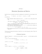 Lecture Notes on Elementary Operations and Matrices
