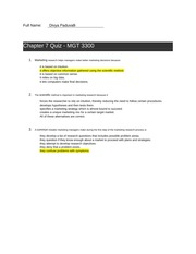 Chapter 07 Quiz answers - MGT 3300