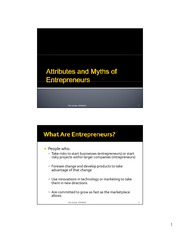 Attributes and Myths Of Entrepreneurs