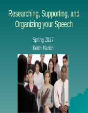 Supporting and Organizing your Speech