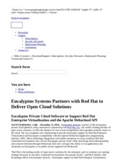 Eucalyptus Systems Partners with Red Hat to Deliver Open Cloud Solutions   Eucalyptus