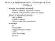 Resource Requirements for Environmental New Ventures