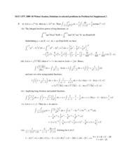 Supplementary Problem Set 2(Solution)