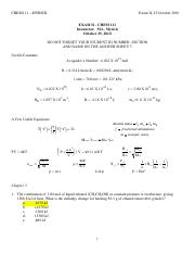 CHEM111 Fall 2010 Exam 2 Key (Practice)