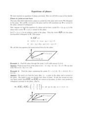 Equations of planes review