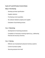 Cycle of F and B Product Control Notes