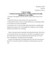 Copy of Critical reading common marriage problems avoiding common marriage problems in your conflict