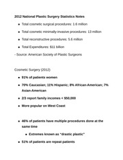 2012 National Plastic Surgery Statistics Notes